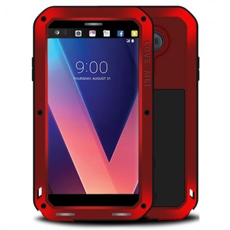 Aluminum Metal Bumper Gorilla Glass Silicone Military Shockproof Water resistant Case For LG V30 - Red