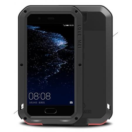 Shockproof Dustproof Powerfull Aluminum Metal with Tempered Glass Case Cover For Huawei P10 Plus - Black