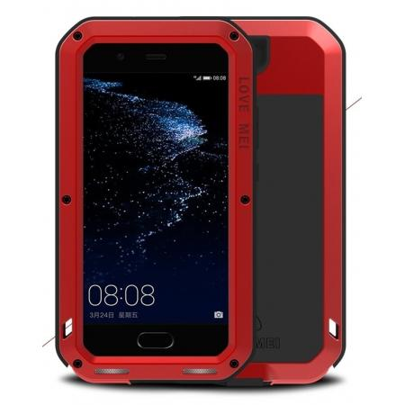Shockproof Dustproof Powerfull Aluminum Metal with Tempered Glass Case Cover For Huawei P10 Plus - Red