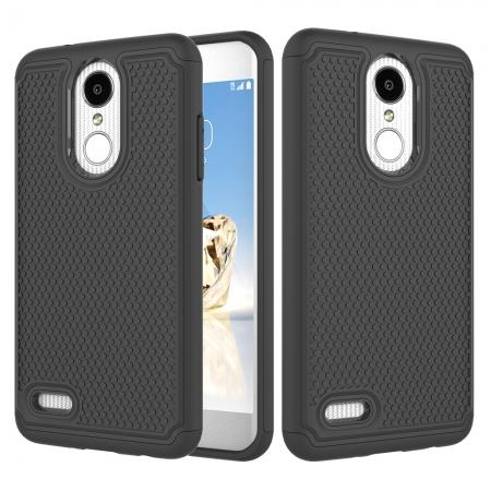 Full Body Hybrid Dual Layer ShockProof Protective Case For LG Tribute Dynasty / Aristo 2 - Black