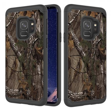 Patterned Hard TPU Hybrid Shockproof Phone Case Cover For Samsung Galaxy S9 - Wood Camo