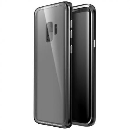 Aluminium Metal Frame+Transparent Tempered Glass Case for Samsung Galaxy S9 - Black