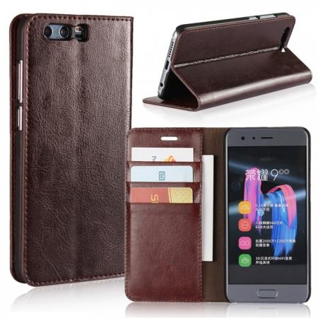 Crazy Horse Genuine Leather Case Flip Stand Card Slot for Huawei Honor 9 - Coffee