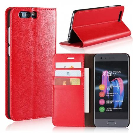 Crazy Horse Genuine Leather Case Flip Stand Card Slot for Huawei Honor 9 - Red
