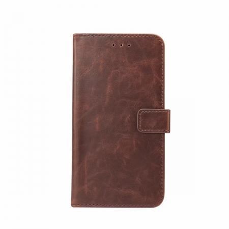Crazy Horse Leather Flip Case Wallet Stand Card Holder for Samsung Galaxy S9 - Dark Brown