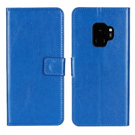 Crazy Horse Magnetic PU Leather Flip Case Inner TPU Cover for Samsung Galaxy S9 - Blue