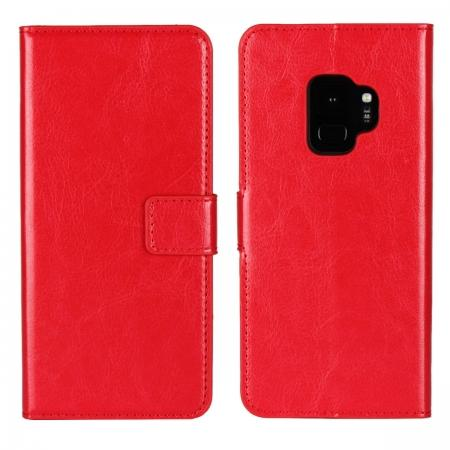 Crazy Horse Magnetic PU Leather Flip Case Inner TPU Cover for Samsung Galaxy S9 - Red