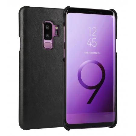 Genuine Leather Matte Back Hard Case Cover for Samsung Galaxy S9 - Black
