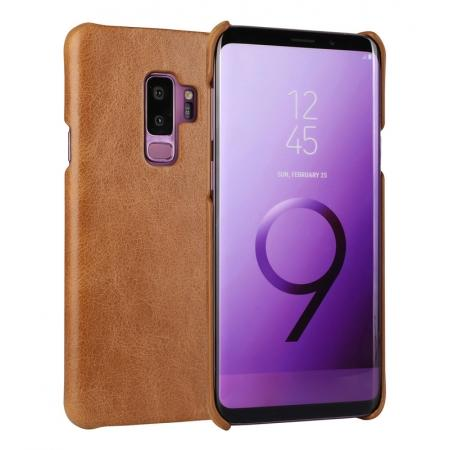 Genuine Leather Matte Back Hard Case Cover for Samsung Galaxy S9 - Brown