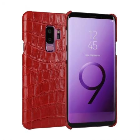 Luxury Genuine Real Leather Crocodile Back Case Cover For Samsung Galaxy S9 - Red