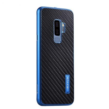 Aluminium Bumper Carbon Fiber Back Case For Samsung Galaxy S9 - Blue&Black