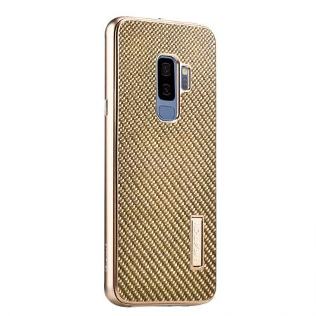 Aluminium Bumper Carbon Fiber Back Case For Samsung Galaxy S9 - Gold