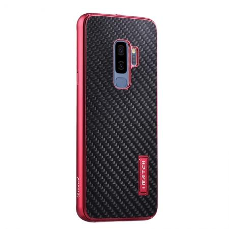 Aluminium Bumper Carbon Fiber Back Case For Samsung Galaxy S9 - Red&Black