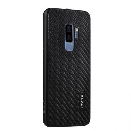 Aluminium Metal Frame + Carbon Back Cover Case For Samsung Galaxy S9 Plus - Black