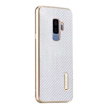 Aluminium Metal Frame + Carbon Back Cover Case For Samsung Galaxy S9 Plus - Gold&Silver