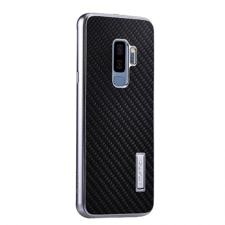 Aluminium Metal Frame + Carbon Back Cover Case For Samsung Galaxy S9 Plus - Silver&Black