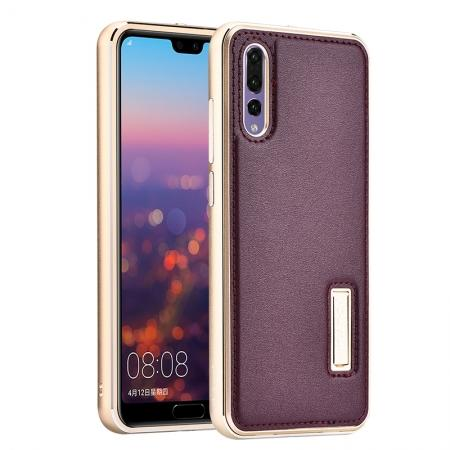 Aluminum Genuine Leather Hybrid Stand Case for HuaWei P20 Pro - Gold&Wine Red