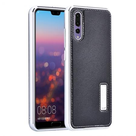 Aluminum Genuine Leather Hybrid Stand Case for HuaWei P20 Pro - Silver&Black