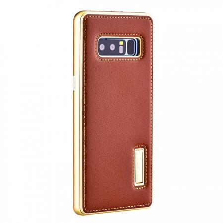 Aluminum Metal Bumper Genuine Leather Kickstand Case for Samsung Galaxy Note 8 - Gold&Brown