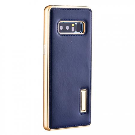 Aluminum Metal Bumper Genuine Leather Kickstand Case for Samsung Galaxy Note 8 - Gold&Dark Blue