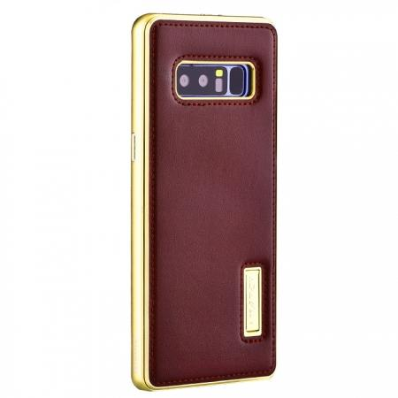Aluminum Metal Bumper Genuine Leather Kickstand Case for Samsung Galaxy Note 8 - Gold&Wine Red