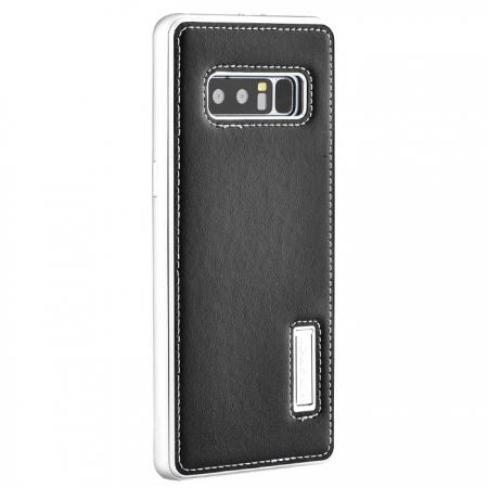 Aluminum Metal Bumper Genuine Leather Kickstand Case for Samsung Galaxy Note 8 - Silver&Black