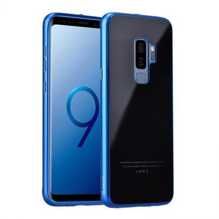 Aluminum Metal bumper + Tempered glass Cover Case for Samsung Galaxy S9 Plus - Blue&Black