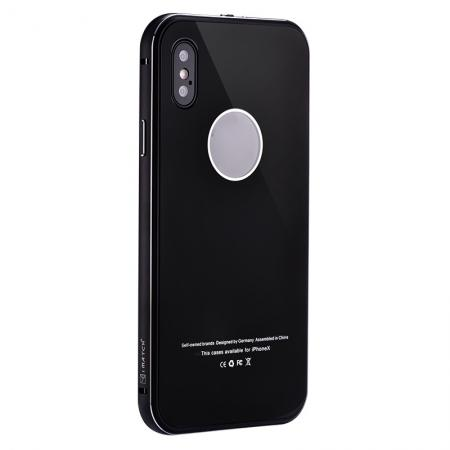Aluminum Metal Bumper with Tempered glass Cover Case for iPhone XS / X - Black