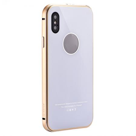 Aluminum Metal Bumper with Tempered glass Cover Case for iPhone XS / X - Gold&White