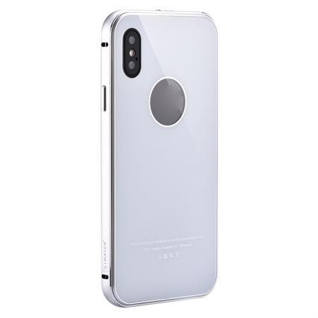 Aluminum Metal Bumper with Tempered glass Cover Case for iPhone XS / X - Silver&White