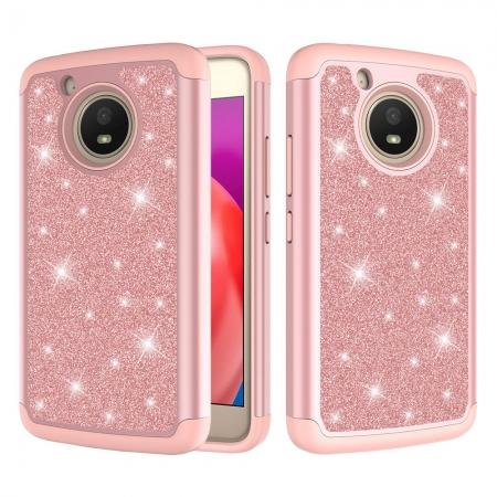 Case For Motorola MOTO E4 Glitter Bling Hard Silicone Hybrid Protective Cover - Rose gold
