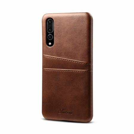 Cow Leather Wallet Card Holder Back Case Cover For Huawei P20 Pro - Dark Brown