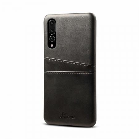 Cow Leather Wallet Card Holder Back Case Cover For Huawei P20 Pro - Grey