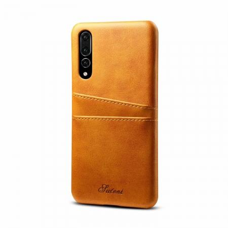 Cow Leather Wallet Card Holder Back Case Cover For Huawei P20 Pro - Light Brown