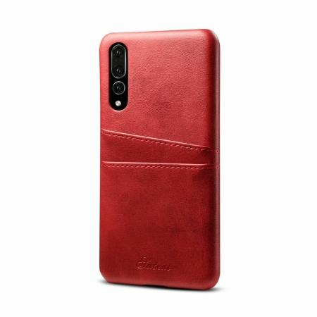 Cow Leather Wallet Card Holder Back Case Cover For Huawei P20 Pro - Red