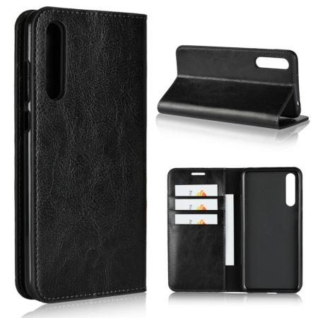 Crazy Horse Genuine Leather Case Flip Stand Card Slot for Huawei P20 Pro - Black