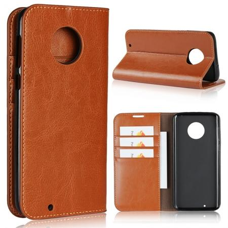 Crazy Horse Genuine Leather Flip Case Cover Stand with Card Slots for Motorola Moto G6 - Brown