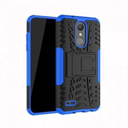 For LG LV3 2018 / LG Aristo 2 Shockproof Hybrid Kickstand Rubber Hard Case Cover - Blue