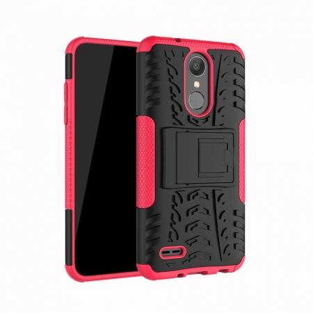 For LG LV3 2018 / LG Aristo 2 Shockproof Hybrid Kickstand Rubber Hard Case Cover - Hot pink