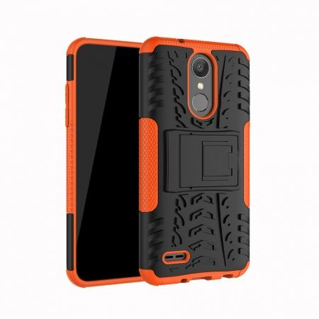 For LG LV3 2018 / LG Aristo 2 Shockproof Hybrid Kickstand Rubber Hard Case Cover - Orange