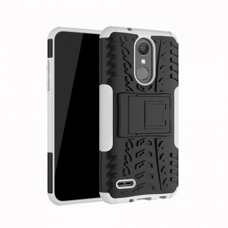 For LG LV3 2018 / LG Aristo 2 Shockproof Hybrid Kickstand Rubber Hard Case Cover - White