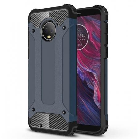 For Motorola Moto G6 Rugged Armor Hybrid Shockproof Back Case Cover - Navy blue