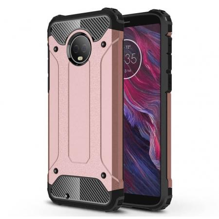 For Motorola Moto G6 Rugged Armor Hybrid Shockproof Back Case Cover - Rose gold