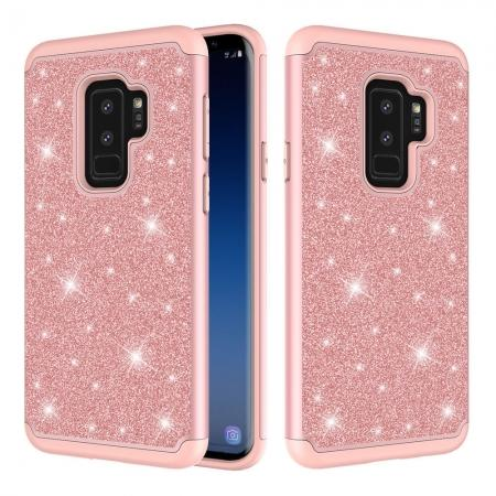For Samsung Galaxy S9 Glitter Case PC Silicone Leather Dual Layer Heavy Duty Phone Case  - Rose gold