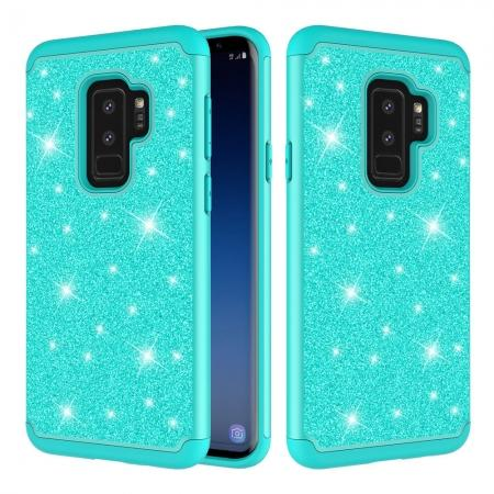 For Samsung Galaxy S9 Glitter Case PC Silicone Leather Dual Layer Heavy Duty Phone Case  - Teal
