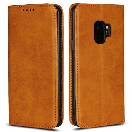 For Samsung Galaxy S9 Leather Case Premium Leather Slim Flip Wallet Case for Samsung Galaxy S9 - Brown