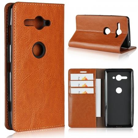 For Sony Xperia XZ2 Compact Crazy Horse Genuine Leather Case Flip Stand Card Slot - Brown