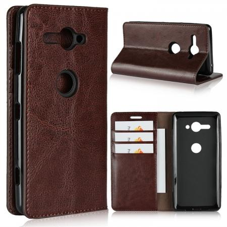 For Sony Xperia XZ2 Compact Crazy Horse Genuine Leather Case Flip Stand Card Slot - Coffee