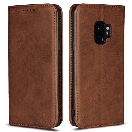 Galaxy S9 Flip Leather Case Premium Leather Slim Flip Wallet Case for Samsung Galaxy S9 - Dark Brown