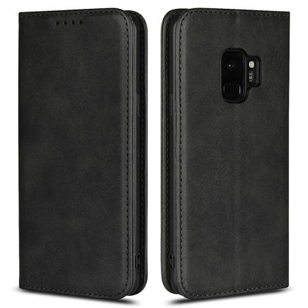 Galaxy S9 Leather Case Premium Leather Slim Flip Wallet Case for Samsung Galaxy S9 - Black